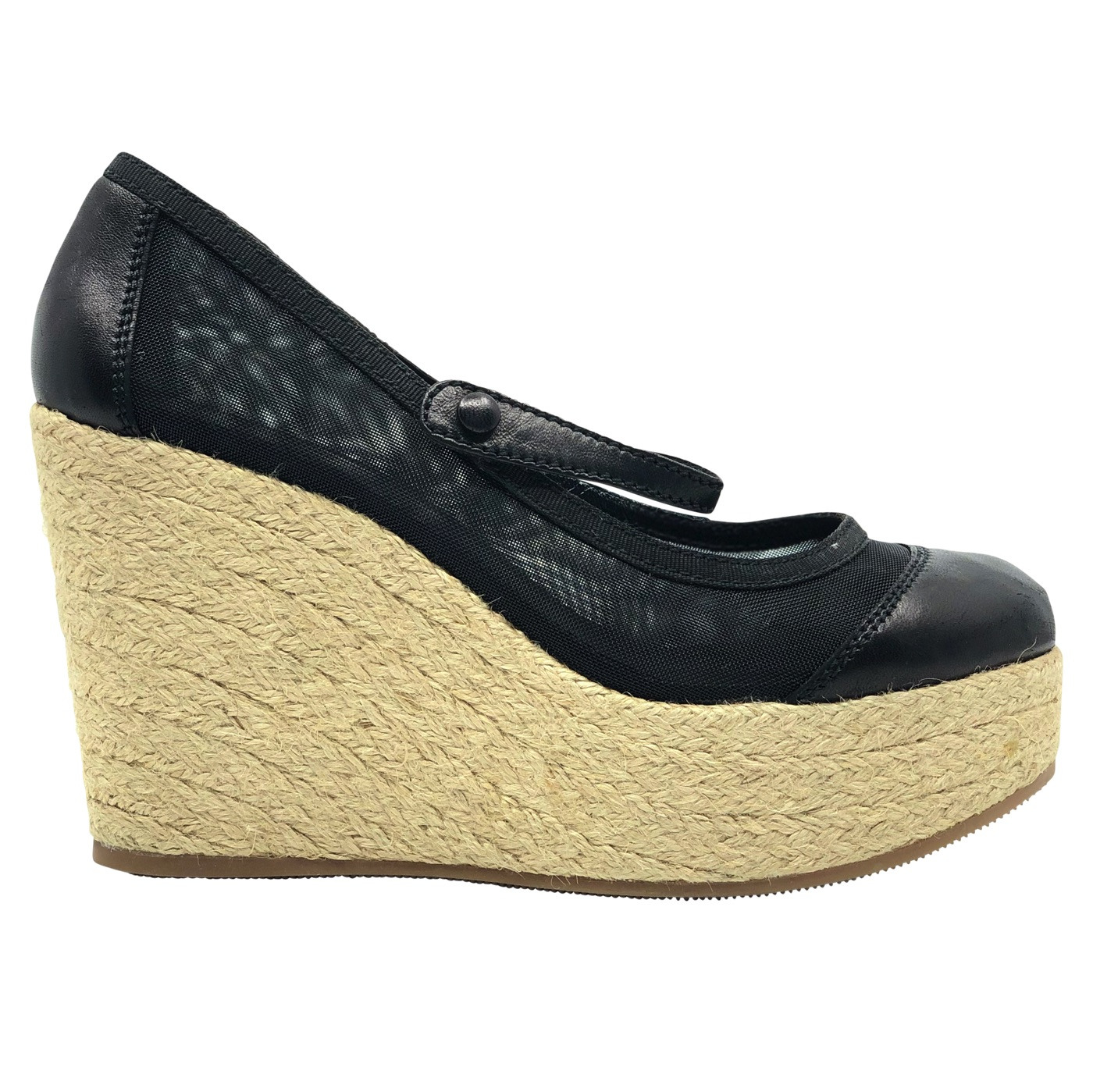 pretty nice online for sale new appearance Chadi Luxury | Fendi Black Leather Canvas Wedges